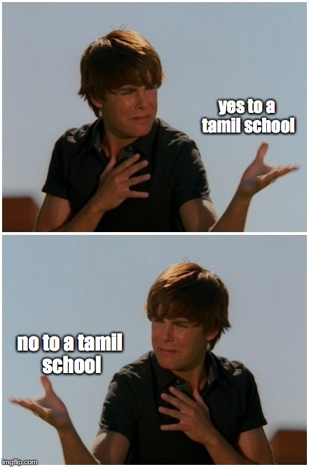 troy being funny | yes to a tamil school no to a tamil school | image tagged in troy bolton,funny,meme,yes or no | made w/ Imgflip meme maker