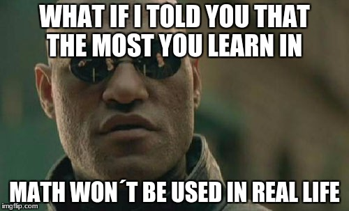 Matrix Morpheus Meme | WHAT IF I TOLD YOU THAT THE MOST YOU LEARN IN MATH WON´T BE USED IN REAL LIFE | image tagged in memes,matrix morpheus | made w/ Imgflip meme maker