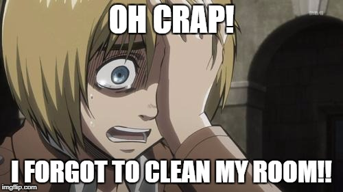 Attack on titan | OH CRAP! I FORGOT TO CLEAN MY ROOM!! | image tagged in attack on titan | made w/ Imgflip meme maker