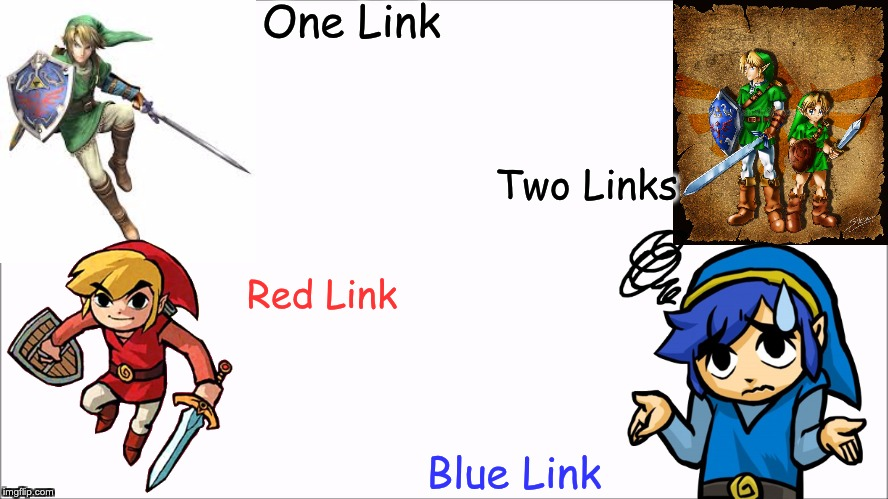 Dr Seuss' Guide to the Many Links | One Link Two Links Red Link Blue Link | image tagged in the legend of zelda,dr seuss | made w/ Imgflip meme maker