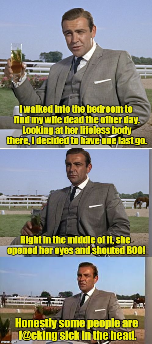 Bad Pun Bond | I walked into the bedroom to find my wife dead the other day. Looking at her lifeless body there, I decided to have one last go. Honestly so | image tagged in bad pun bond | made w/ Imgflip meme maker