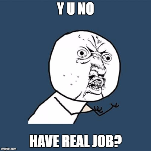 Y U No Meme | Y U NO HAVE REAL JOB? | image tagged in memes,y u no | made w/ Imgflip meme maker