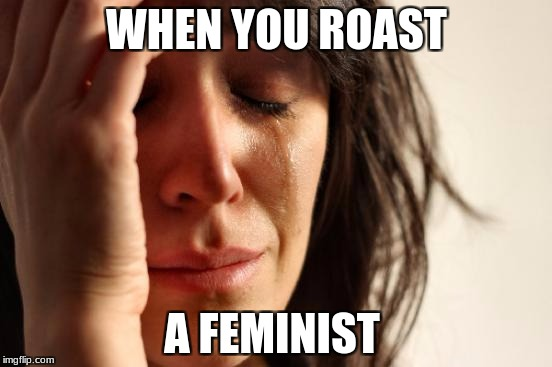 First World Problems Meme | WHEN YOU ROAST A FEMINIST | image tagged in memes,first world problems | made w/ Imgflip meme maker