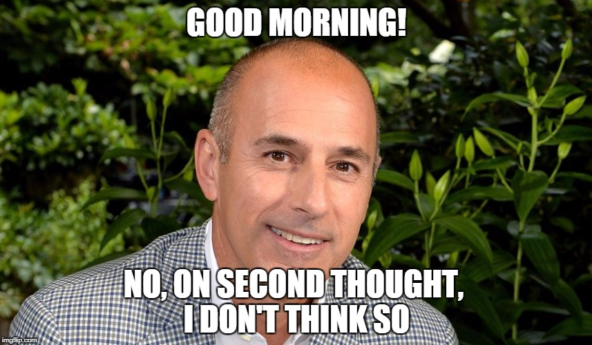 GOOD MORNING! NO, ON SECOND THOUGHT, I DON'T THINK SO | image tagged in nbc news,political meme,sexual harassment | made w/ Imgflip meme maker