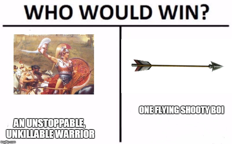 My money's on the shooty boi.  | ONE FLYING SHOOTY BOI AN UNSTOPPABLE, UNKILLABLE WARRIOR | image tagged in who would win,history,achilles,boi,meme,funny memes | made w/ Imgflip meme maker