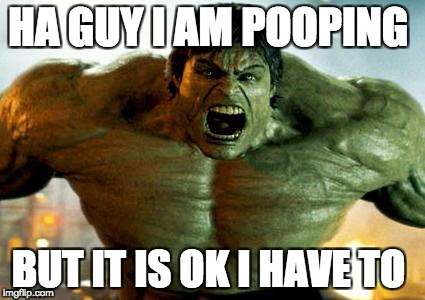 hulk | HA GUY I AM POOPING BUT IT IS OK I HAVE TO | image tagged in hulk | made w/ Imgflip meme maker
