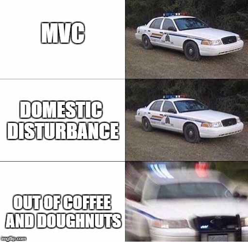 Police Response | MVC OUT OF COFFEE AND DOUGHNUTS DOMESTIC DISTURBANCE | image tagged in police car,memes | made w/ Imgflip meme maker