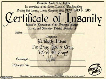 image tagged in blank certificate of insanity | made w/ Imgflip meme maker