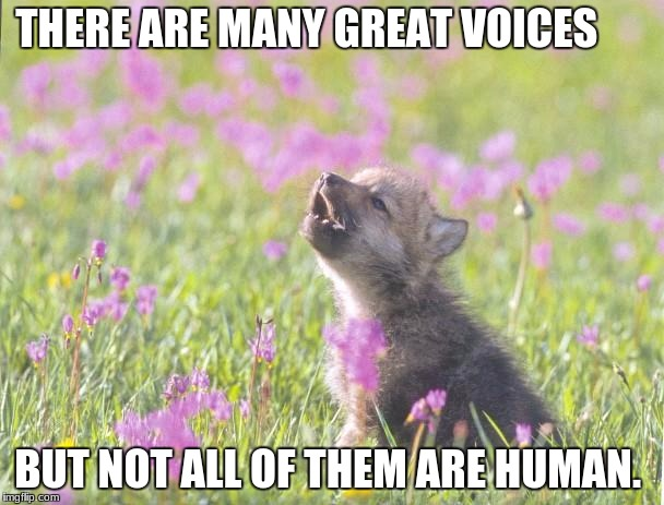 Baby Insanity Wolf | THERE ARE MANY GREAT VOICES BUT NOT ALL OF THEM ARE HUMAN. | image tagged in memes,baby insanity wolf | made w/ Imgflip meme maker
