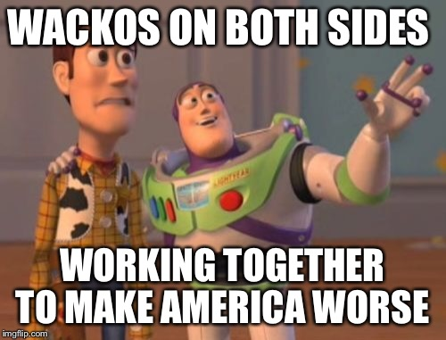 X, X Everywhere Meme | WACKOS ON BOTH SIDES WORKING TOGETHER TO MAKE AMERICA WORSE | image tagged in memes,x,x everywhere,x x everywhere | made w/ Imgflip meme maker