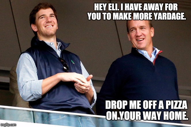 HEY ELI. I HAVE AWAY FOR YOU TO MAKE MORE YARDAGE. DROP ME OFF A PIZZA ON YOUR WAY HOME. | image tagged in peyton  eli | made w/ Imgflip meme maker