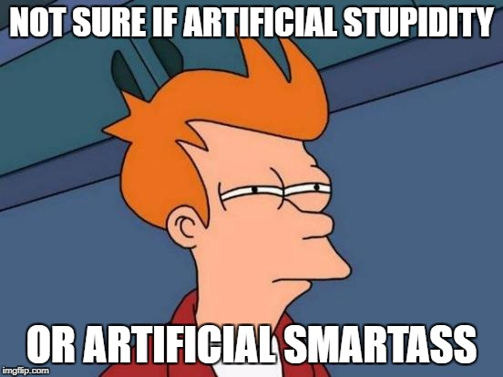 Futurama Fry Meme | NOT SURE IF ARTIFICIAL STUPIDITY OR ARTIFICIAL SMARTASS | image tagged in memes,futurama fry | made w/ Imgflip meme maker