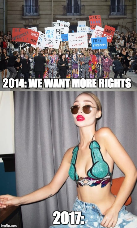 Woman want more rights | 2014: WE WANT MORE RIGHTS 2017: | image tagged in feminism | made w/ Imgflip meme maker