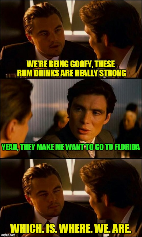 WE'RE BEING GOOFY, THESE RUM DRINKS ARE REALLY STRONG WHICH. IS. WHERE. WE. ARE. YEAH, THEY MAKE ME WANT TO GO TO FLORIDA | made w/ Imgflip meme maker
