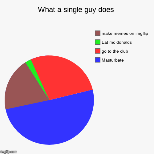 What a single guy does | Masturbate, go to the club, Eat mc donalds, make memes on imgflip | image tagged in funny,pie charts | made w/ Imgflip pie chart maker