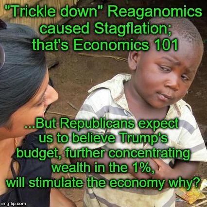"Thanks but no thanks Cons & Neo-Cons ...  I'll stick with economic theories that haven't proven to fail the working class & poor | ""Trickle down"" Reaganomics caused Stagflation; that's Economics 101 ...But Republicans expect us to believe Trump's budget, further concentr 