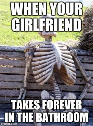 Waiting Skeleton Meme | WHEN YOUR GIRLFRIEND TAKES FOREVER IN THE BATHROOM | image tagged in memes,waiting skeleton | made w/ Imgflip meme maker