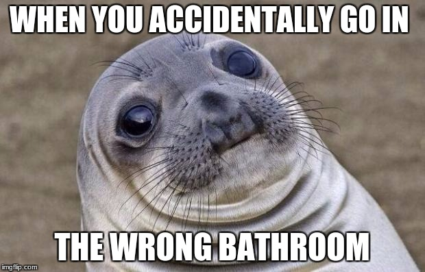 Awkward Moment Sealion Meme | WHEN YOU ACCIDENTALLY GO IN THE WRONG BATHROOM | image tagged in memes,awkward moment sealion | made w/ Imgflip meme maker