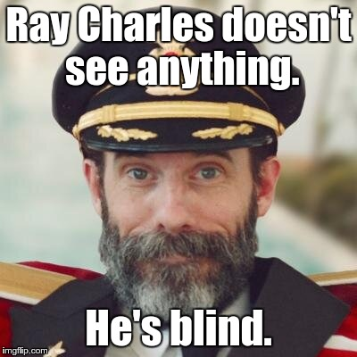 captain obvious | Ray Charles doesn't see anything. He's blind. | image tagged in captain obvious | made w/ Imgflip meme maker