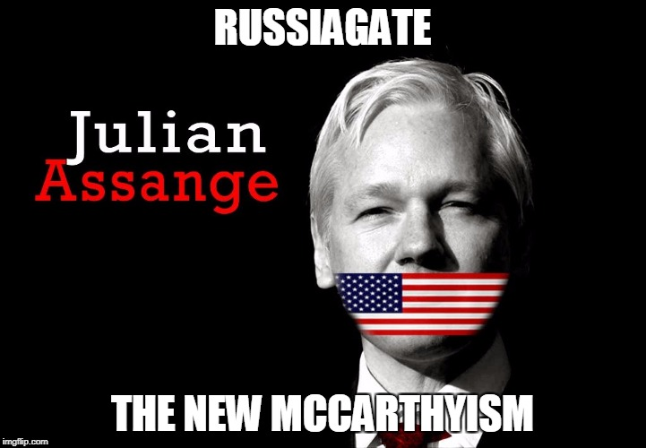 Julian Assange 2016 | RUSSIAGATE THE NEW MCCARTHYISM | image tagged in julian assange 2016 | made w/ Imgflip meme maker