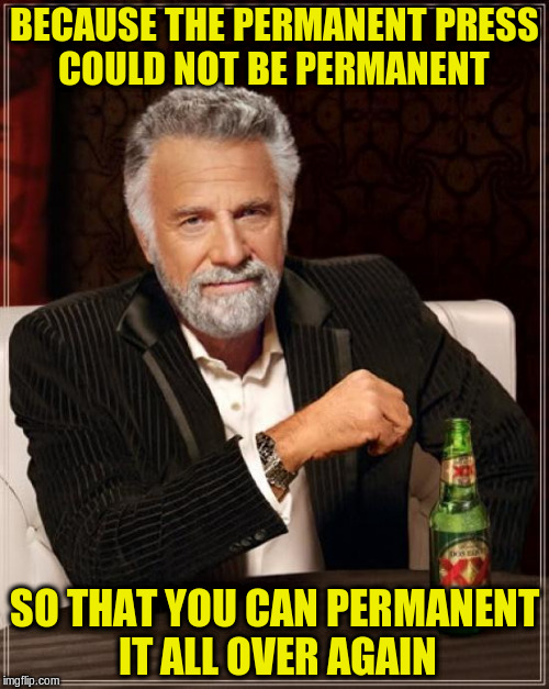 The Most Interesting Man In The World Meme | BECAUSE THE PERMANENT PRESS COULD NOT BE PERMANENT SO THAT YOU CAN PERMANENT IT ALL OVER AGAIN | image tagged in memes,the most interesting man in the world | made w/ Imgflip meme maker