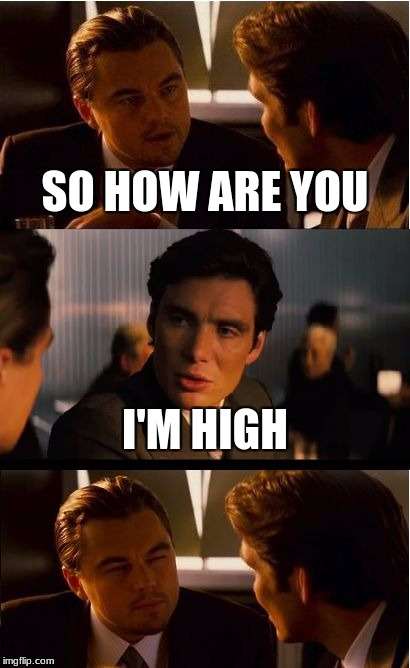 Inception Meme | SO HOW ARE YOU I'M HIGH | image tagged in memes,inception | made w/ Imgflip meme maker