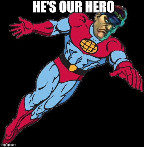 HE'S OUR HERO | image tagged in captain bison | made w/ Imgflip meme maker