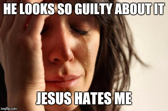 First World Problems Meme | HE LOOKS SO GUILTY ABOUT IT JESUS HATES ME | image tagged in memes,first world problems | made w/ Imgflip meme maker
