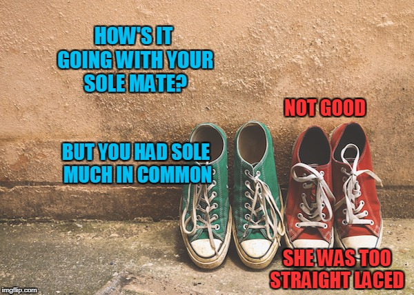 HOW'S IT GOING WITH YOUR SOLE MATE? NOT GOOD BUT YOU HAD SOLE MUCH IN COMMON SHE WAS TOO STRAIGHT LACED | made w/ Imgflip meme maker