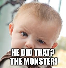 Skeptical Baby Meme | HE DID THAT? THE MONSTER! | image tagged in memes,skeptical baby | made w/ Imgflip meme maker