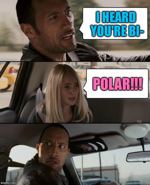 The Rock Driving Meme | I HEARD YOU'RE BI- POLAR!!! | image tagged in memes,the rock driving | made w/ Imgflip meme maker