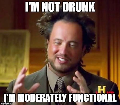 Ancient Aliens Meme | I'M NOT DRUNK I'M MODERATELY FUNCTIONAL | image tagged in memes,ancient aliens | made w/ Imgflip meme maker