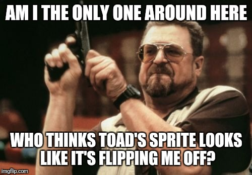 Am I The Only One Around Here Meme | AM I THE ONLY ONE AROUND HERE WHO THINKS TOAD'S SPRITE LOOKS LIKE IT'S FLIPPING ME OFF? | image tagged in memes,am i the only one around here | made w/ Imgflip meme maker