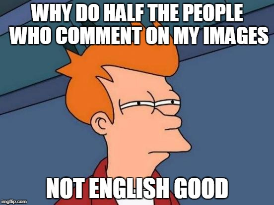 Can't English well myself, however... | WHY DO HALF THE PEOPLE WHO COMMENT ON MY IMAGES NOT ENGLISH GOOD | image tagged in memes,futurama fry | made w/ Imgflip meme maker