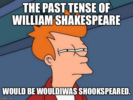 Grammar Nazi...?  | THE PAST TENSE OF WILLIAM SHAKESPEARE WOULD BE WOULDIWAS SHOOKSPEARED. | image tagged in memes,futurama fry | made w/ Imgflip meme maker
