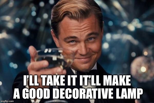 Leonardo Dicaprio Cheers Meme | I'LL TAKE IT IT'LL MAKE A GOOD DECORATIVE LAMP | image tagged in memes,leonardo dicaprio cheers | made w/ Imgflip meme maker