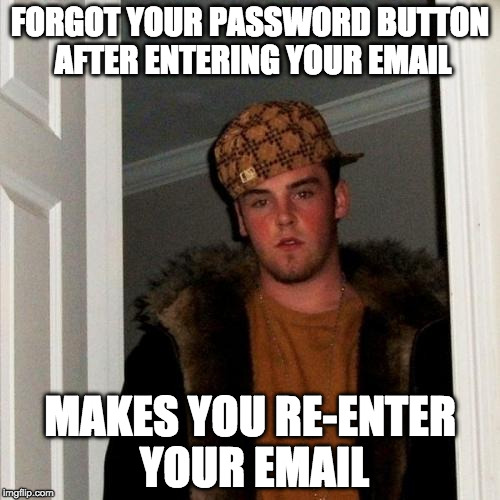 Scumbag Steve Meme | FORGOT YOUR PASSWORD BUTTON AFTER ENTERING YOUR EMAIL MAKES YOU RE-ENTER YOUR EMAIL | image tagged in memes,scumbag steve,AdviceAnimals | made w/ Imgflip meme maker
