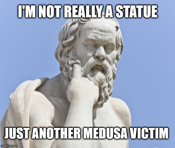 Are statues and sculptures real?  | I'M NOT REALLY A STATUE JUST ANOTHER MEDUSA VICTIM | image tagged in socrates statue,memes,deep thoughts,statue,medusa,stupid | made w/ Imgflip meme maker