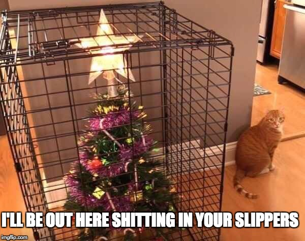 Christmas vs Cat | I'LL BE OUT HERE SHITTING IN YOUR SLIPPERS | image tagged in memes,cats,christmas | made w/ Imgflip meme maker