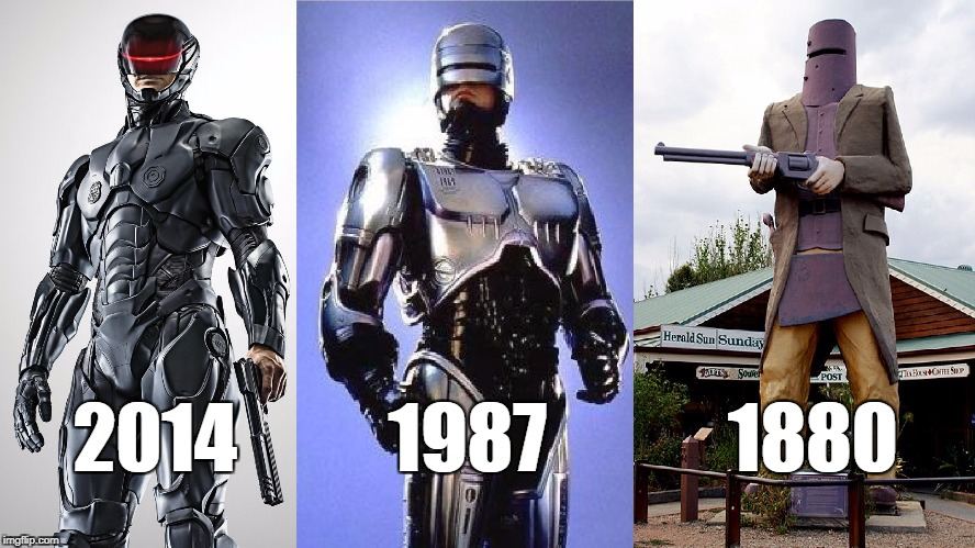 Robocop Historical Timeline | 2014          1987            1880 | image tagged in history,historical meme,historical,education,educational,robocop | made w/ Imgflip meme maker
