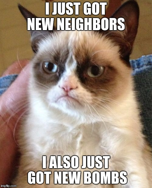 Grumpy Cat Meme | I JUST GOT NEW NEIGHBORS I ALSO JUST GOT NEW BOMBS | image tagged in memes,grumpy cat | made w/ Imgflip meme maker