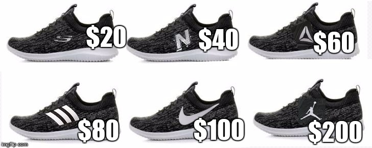 $20 $200 $40 $100 $60 $80 | image tagged in shoes | made w/ Imgflip meme maker