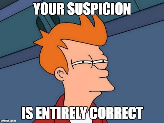 Futurama Fry Meme |  YOUR SUSPICION; IS ENTIRELY CORRECT | image tagged in memes,futurama fry | made w/ Imgflip meme maker
