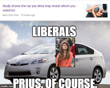 PRIUS. OF COURSE. LIBERALS | image tagged in memes,liberals,prius | made w/ Imgflip meme maker
