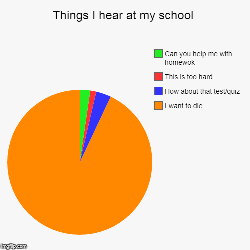 Things I hear at my school | I want to die, How about that test/quiz, This is too hard, Can you help me with homewok | image tagged in funny,pie charts | made w/ Imgflip pie chart maker