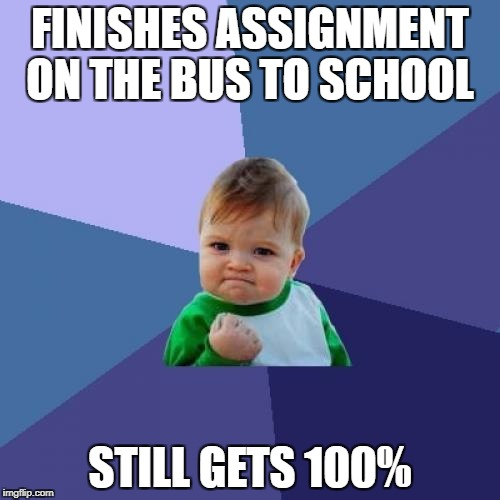 Success Kid | FINISHES ASSIGNMENT ON THE BUS TO SCHOOL STILL GETS 100% | image tagged in memes,success kid,funny,school,100,procrastination | made w/ Imgflip meme maker