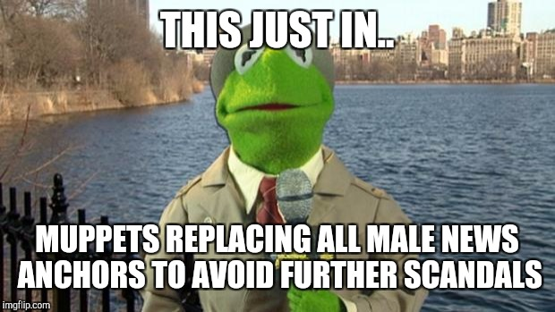 Kermit News Report | THIS JUST IN.. MUPPETS REPLACING ALL MALE NEWS ANCHORS TO AVOID FURTHER SCANDALS | image tagged in kermit news report | made w/ Imgflip meme maker