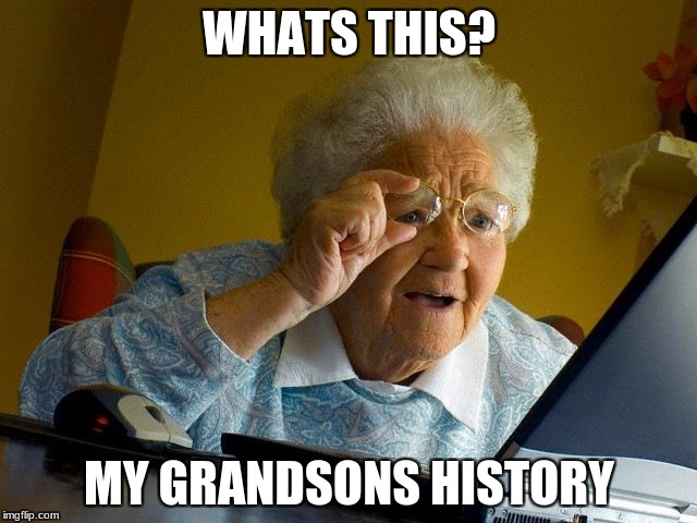 Grandma Finds The Internet Meme | WHATS THIS? MY GRANDSONS HISTORY | image tagged in memes,grandma finds the internet | made w/ Imgflip meme maker