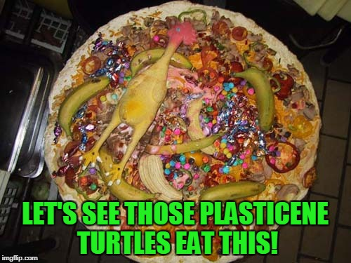 LET'S SEE THOSE PLASTICENE TURTLES EAT THIS! | made w/ Imgflip meme maker