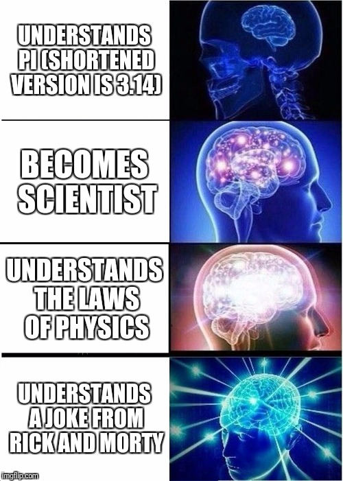 Expanding Brain Meme | UNDERSTANDS PI (SHORTENED VERSION IS 3.14) BECOMES SCIENTIST UNDERSTANDS THE LAWS OF PHYSICS UNDERSTANDS A JOKE FROM RICK AND MORTY | image tagged in memes,expanding brain | made w/ Imgflip meme maker
